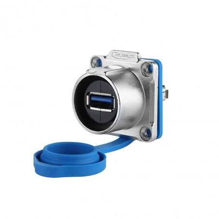 Vandtillætill/ IP68 USB3.0 hona/hona kontakt med gummiprop