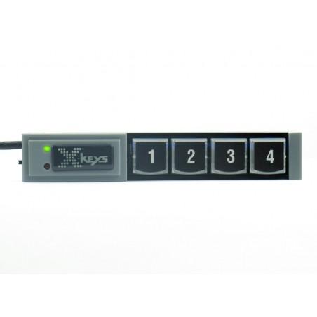 4 programmerbare tillastiller på række, USB.
