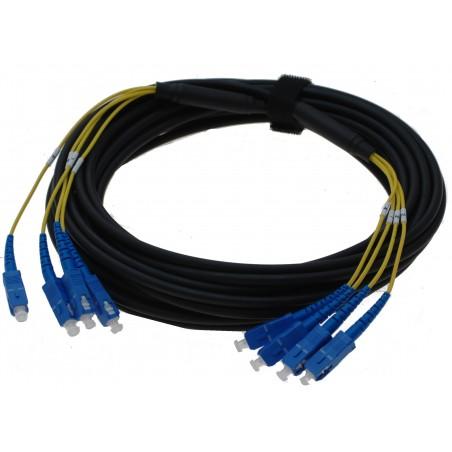 Armerad fiberkabel-singlemode, 4 x SC kontakt, svart, 50 meter