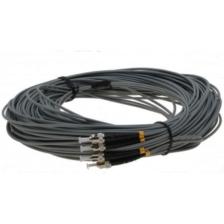 Fiberoptillisk kabel med fleksibel armering af rustfrittill stål - multimode ST, 50 meter