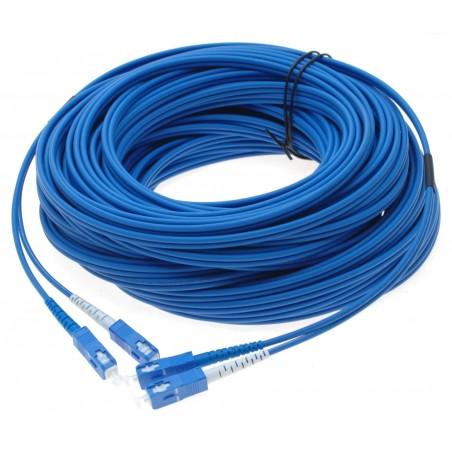 Fiberoptisk kabel med flexibel förstärkning af rostfrit stål - singlemode SC, 250 meter