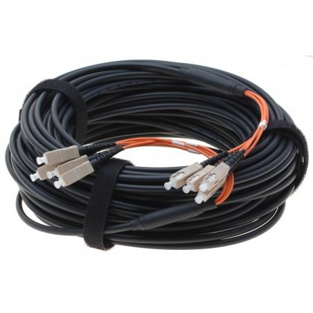 Armerad fiberkabel Multi Mode, 62,5/125 μm, 4 x SC stik i hver ende, sort, 30 meter