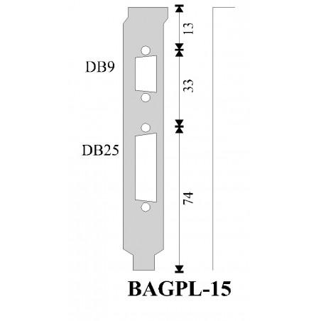 Restparti: Försäljning: Back platilltilla med hål för DB9 och DB25