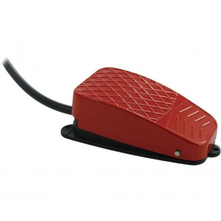 Industriell flip-fotpedal för USB-kontakt-box. Ledning med 3,5 mm jack kontakt. Röd. Tillbehör
