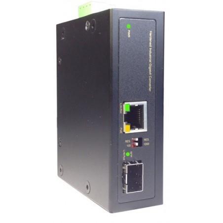 Mediekonverter RJ45 til Fiber, SFP Gbit, PoE+