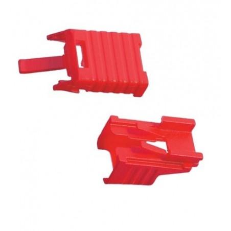 RJ45 stik/ lås. Lockable plug-out beskyttelse til alle slags RJ45 kabler. LSZH, rød