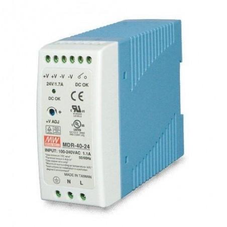 24V/1.7A strömförörjning, 100-240VAC, DIN-skena, -20 - +70°C