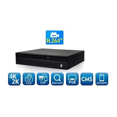 16 kanals 4K NVR optager med PoE til overvågning H.264+/H265