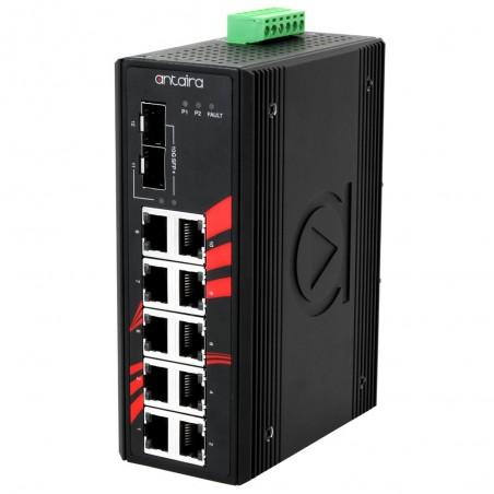 10 ports Industriel 10/100/1000Mbit switch + 2 x 10Gbit SFP slot, unmanaged, Din-beslag, -40 - +60°C, 12 - 48VDC