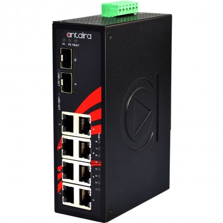 8 ports Industriel 10/100/1000Mbit switch + 2 x 10GB SFP slot, unmamaged, DIN, -40 - +60°C, 24 - 55VDC, PoE+