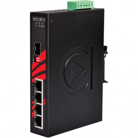 5 ports Industriel 10/100/1000Mbit switch, DIN-beslag, -10 - +70°C, 12 - 48VDC