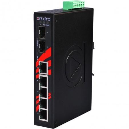 5 ports Industriel 10/100Mbit + 2 x 100/1000Mbit SFP slot switch, DIN-beslag, -40 - +75°C, 12 - 48VDC