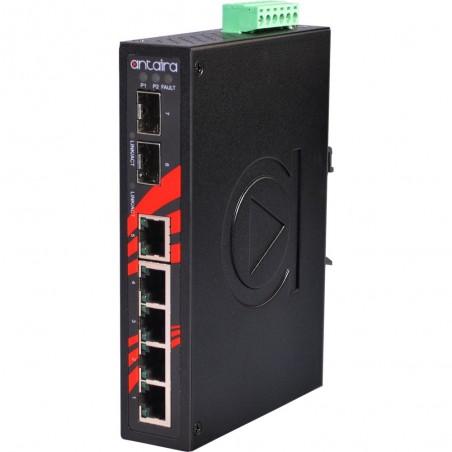 5 ports Industriel 10/100/1000Mbit + 2 x 100/1000Mbit SFP slot switch, DIN-beslag, -40 - +75°C, 12 - 48VDC