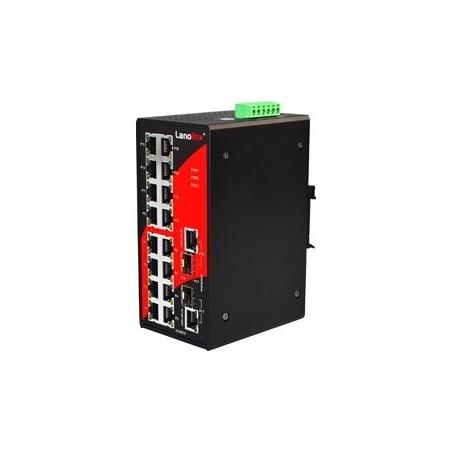 16 ports Industriel 10/100Mbit + 2 x 10/100/1000Mbit SFP slot switch, DIN-beslag, -10 - +70°C, 12 - 48VDC