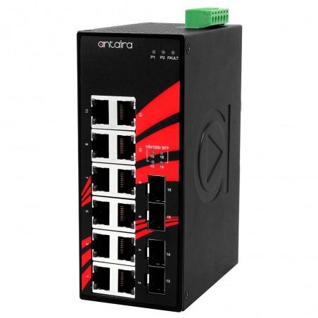 12 ports Industriel 10/100/1000Mbit + 4 x 100/1000Mbit SFP slot switch, DIN-beslag, -10 - +70°C, 12 - 48VDC