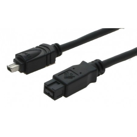 Firewire IEEE 1394b adapterkabel 4-polet han – 9 polet han FW800, svart, 4,5m