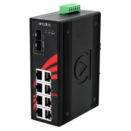 8 ports Industriel 10/100/1000Mbit switch + 2 x 10Gbit SFP slot, unmanaged, DIN-beslag, -40 - +60°C, 12 - 48VDC