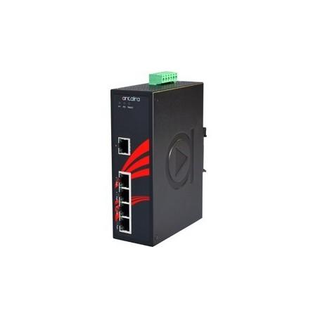 5 ports Industriel 10/100/1000Mbit switch, PoE+ (30W), DIN-skinne, -40 - +75°C, 12 - 36VDC