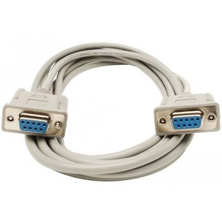Nullmodem kabel med 2 x DB9 hun, 28 AWG, grå , 3,0m