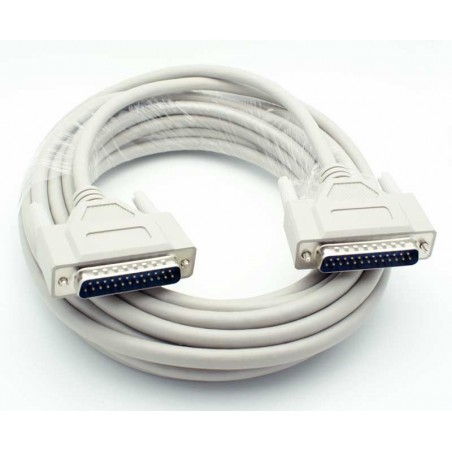 SUB D RS232 tilpasningskabel, DB25 han - DB25 han, skærmet, IEEE1284, AWG28, grå, 20m