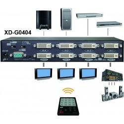 XD-G0204, DVI Matrix med GUI, IR, RS232 & EGO Funktion (2-in/4-out)